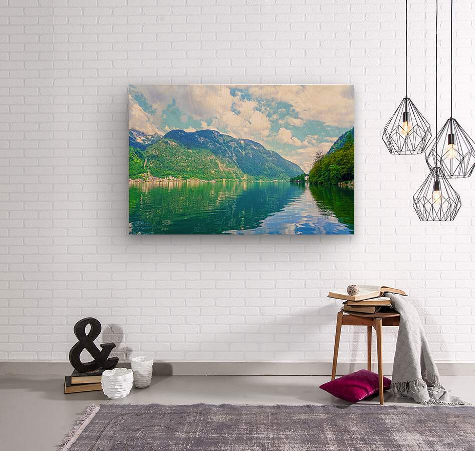 Hallstatt and Grub Castle with Beautiful Reflections in the Waters of Lake Hallstatt  Wood print