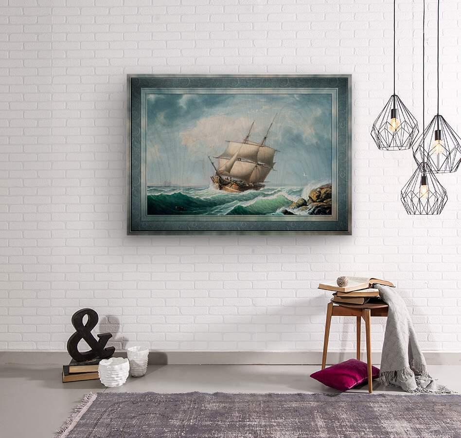 Brig Off the Maine Coast by Fitz Hugh Lane Classical Marine Fine Art Xzendor7 Old Masters Reproductions  Wood print