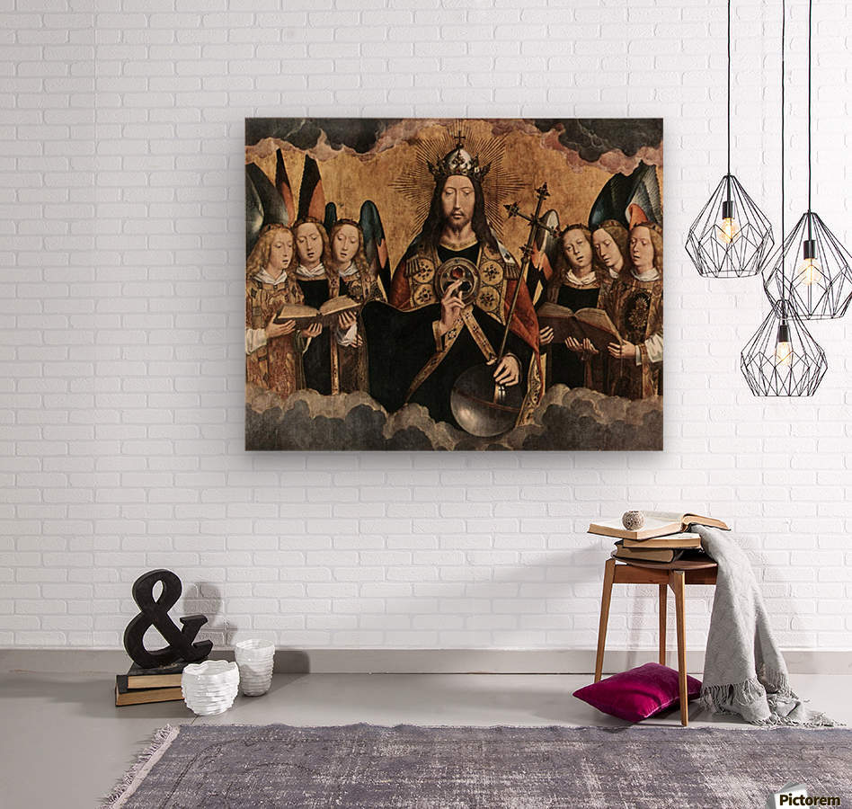 Christ Blessing, central panel from a triptych from the Church of Santa Maria la Real, Najera  Wood print