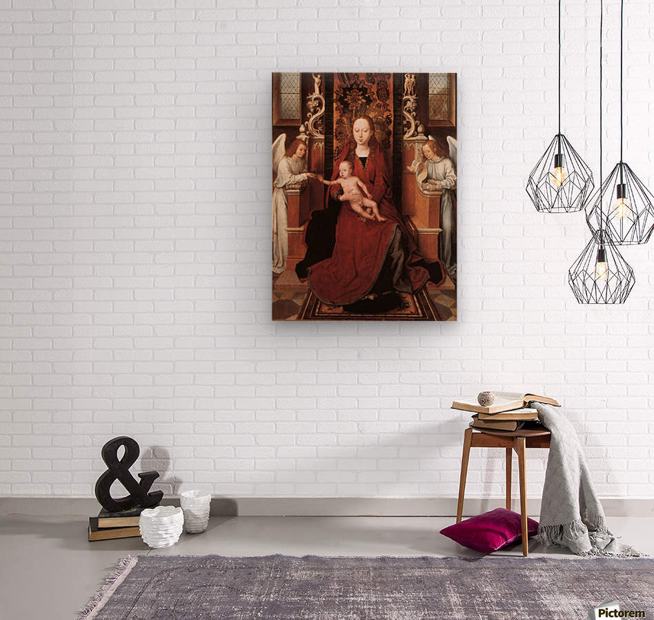 Virgin and Child enthroned with two Angels  Wood print