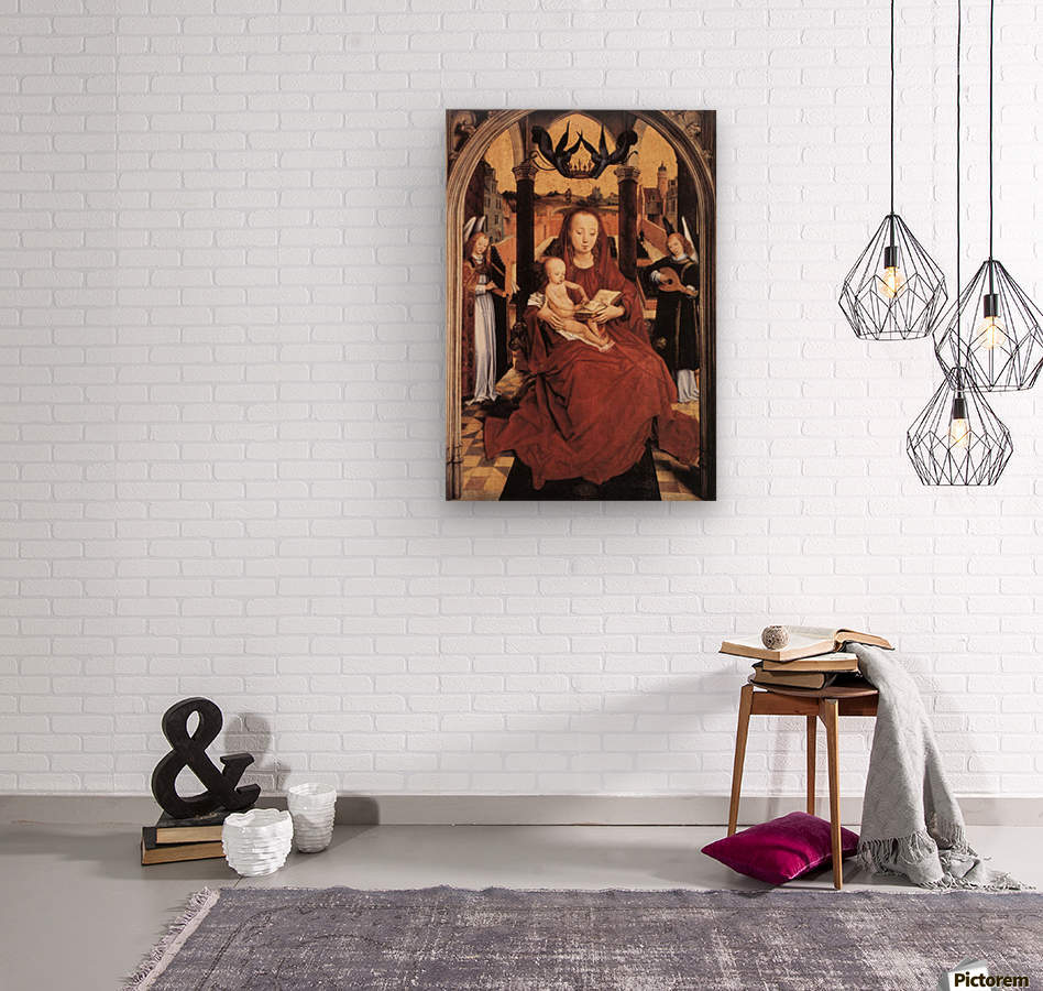 Virgin and Child Enthroned with two Musical Angels  Wood print