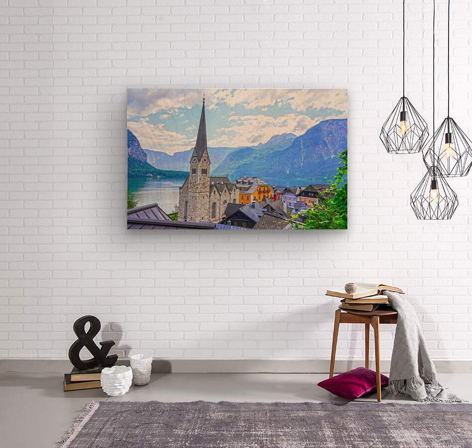 One Fine Day in Hallstatt Austria  Wood print
