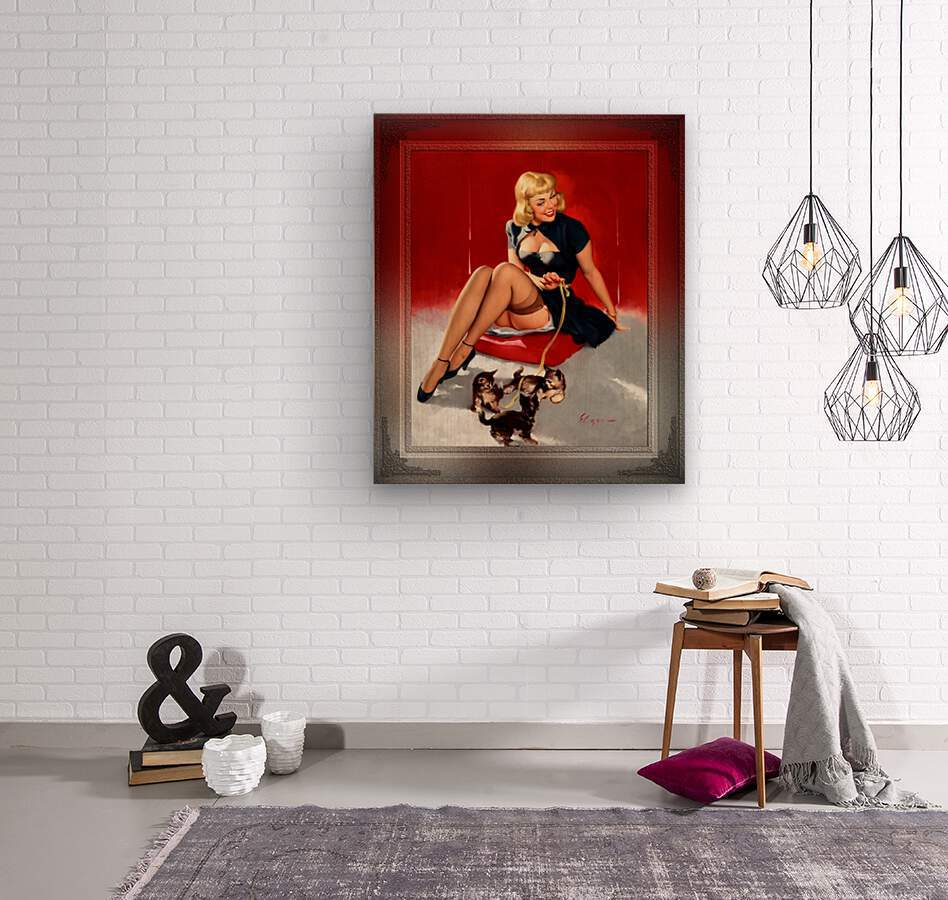 Some Cute Tricks by Gil Elvgren Vintage Xzendor7 Old Masters Reproductions  Wood print