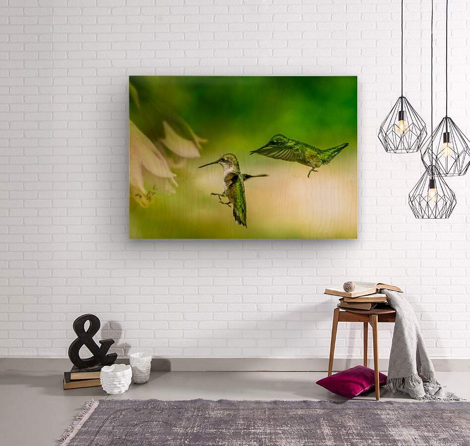 Emerald Hummingbirds  Wood print