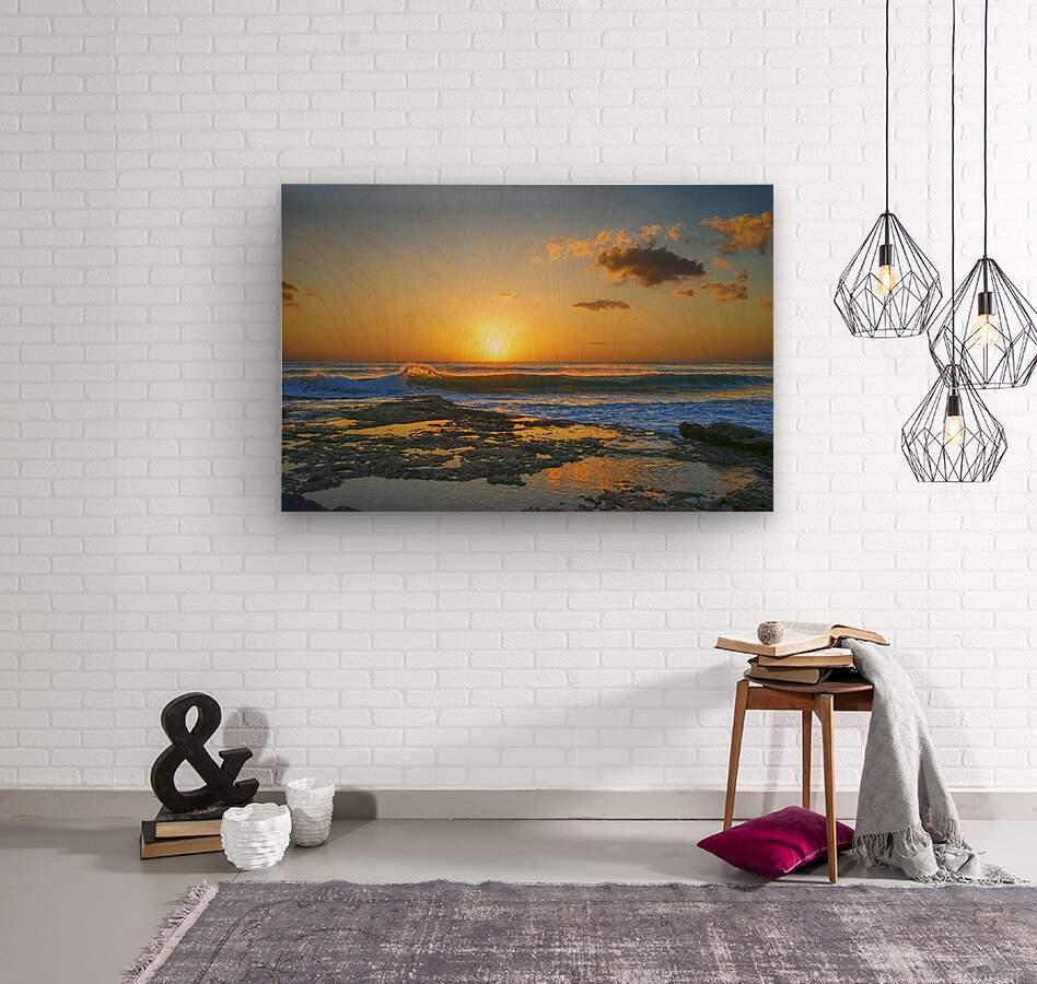 Brilliant Sunset at the Bay Hawaii  Wood print
