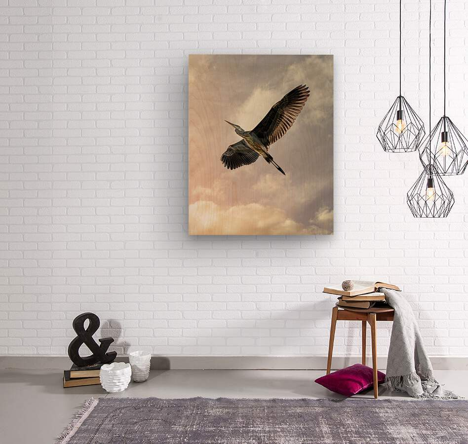 Flight Of The Heron  Wood print