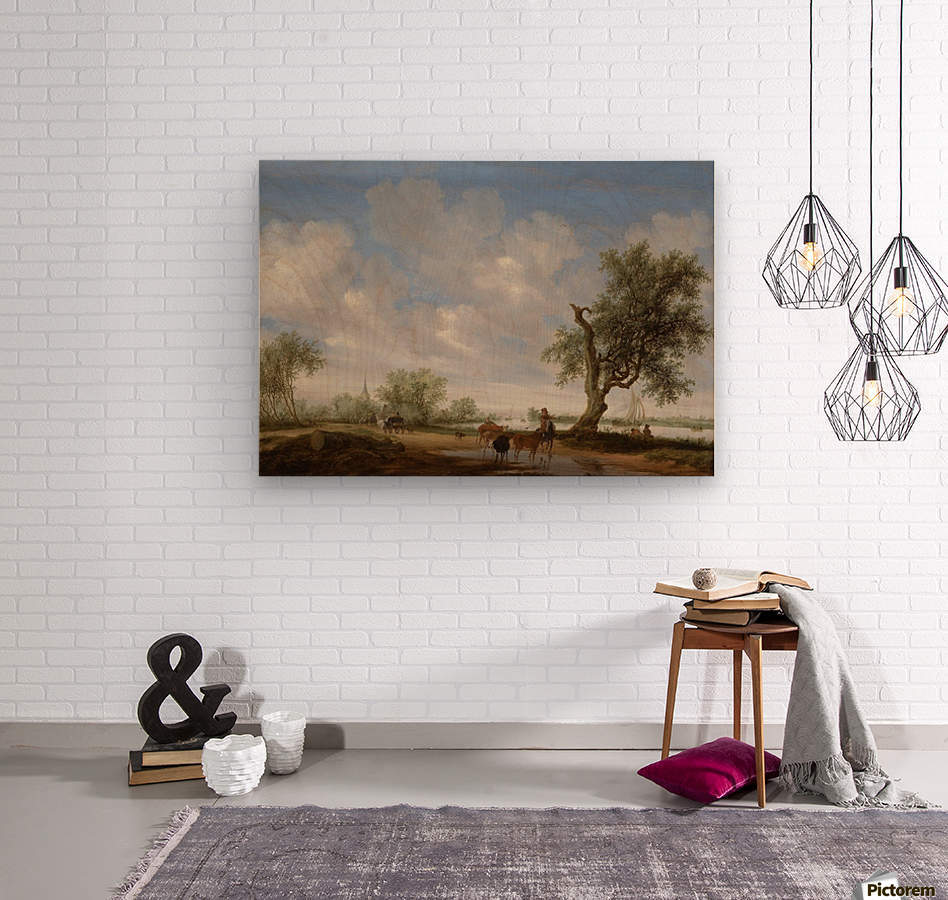Landscape with a Road alongside a River  Wood print