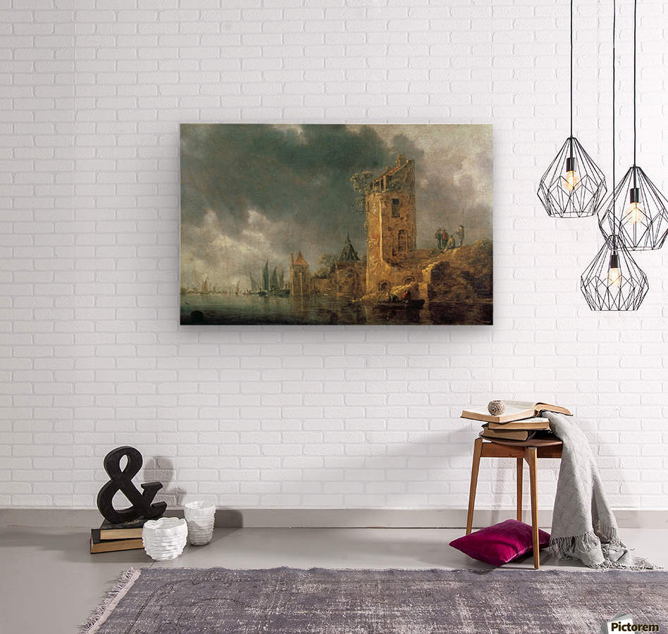 River Scene with Ruined Tower  Wood print