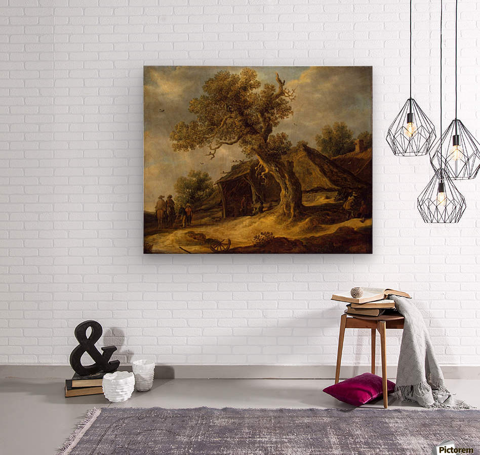 Landscape with Oak  Wood print