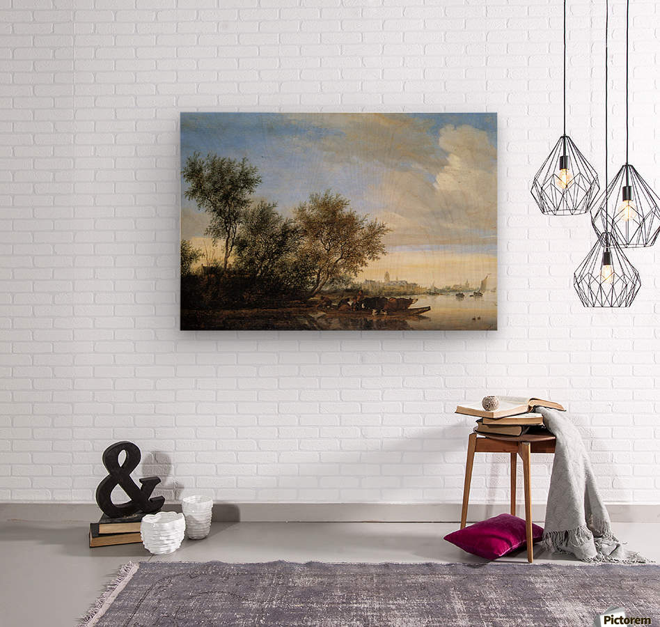 River landscape with ferry Sun  Wood print