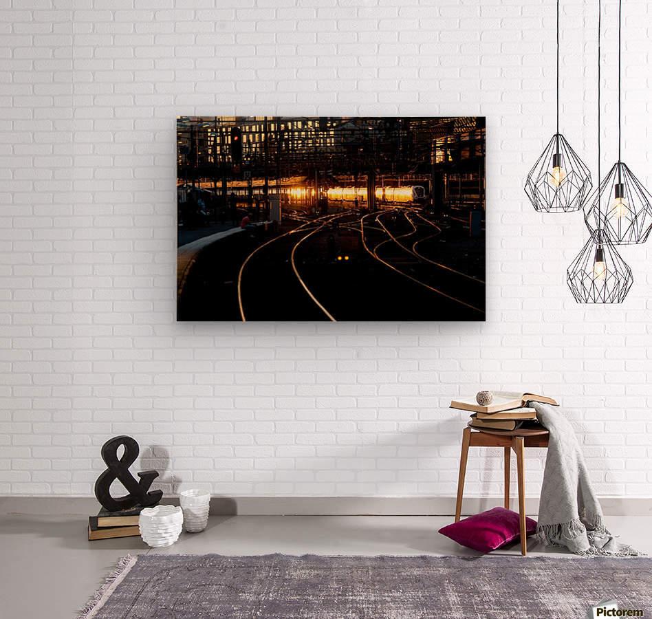 Golden train  Wood print