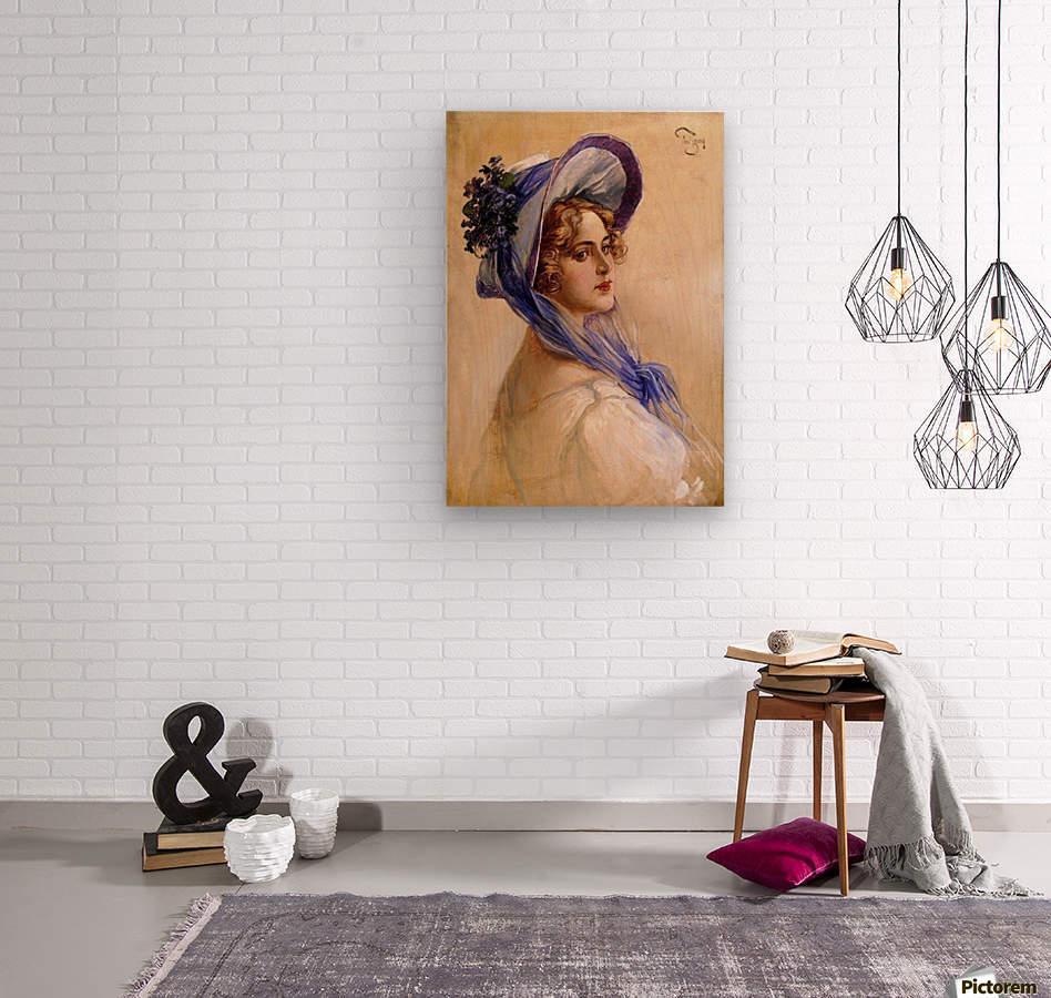 Youbg lady with purple hat  Impression sur bois