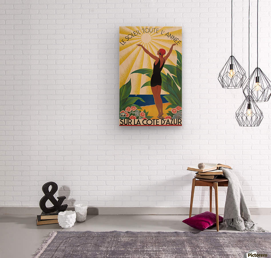 Sun All Year On the Cote dAzur poster in 1931  Wood print