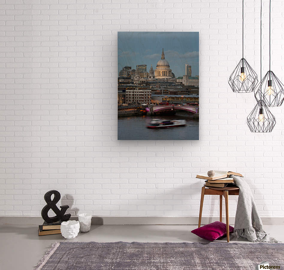 St. Paul's Cathedral and Blackfriars; London, England  Wood print