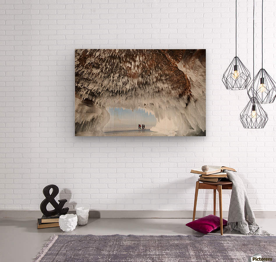 Ice caves on Lake Superior, near Bayfield; Michigan, United States of America  Wood print