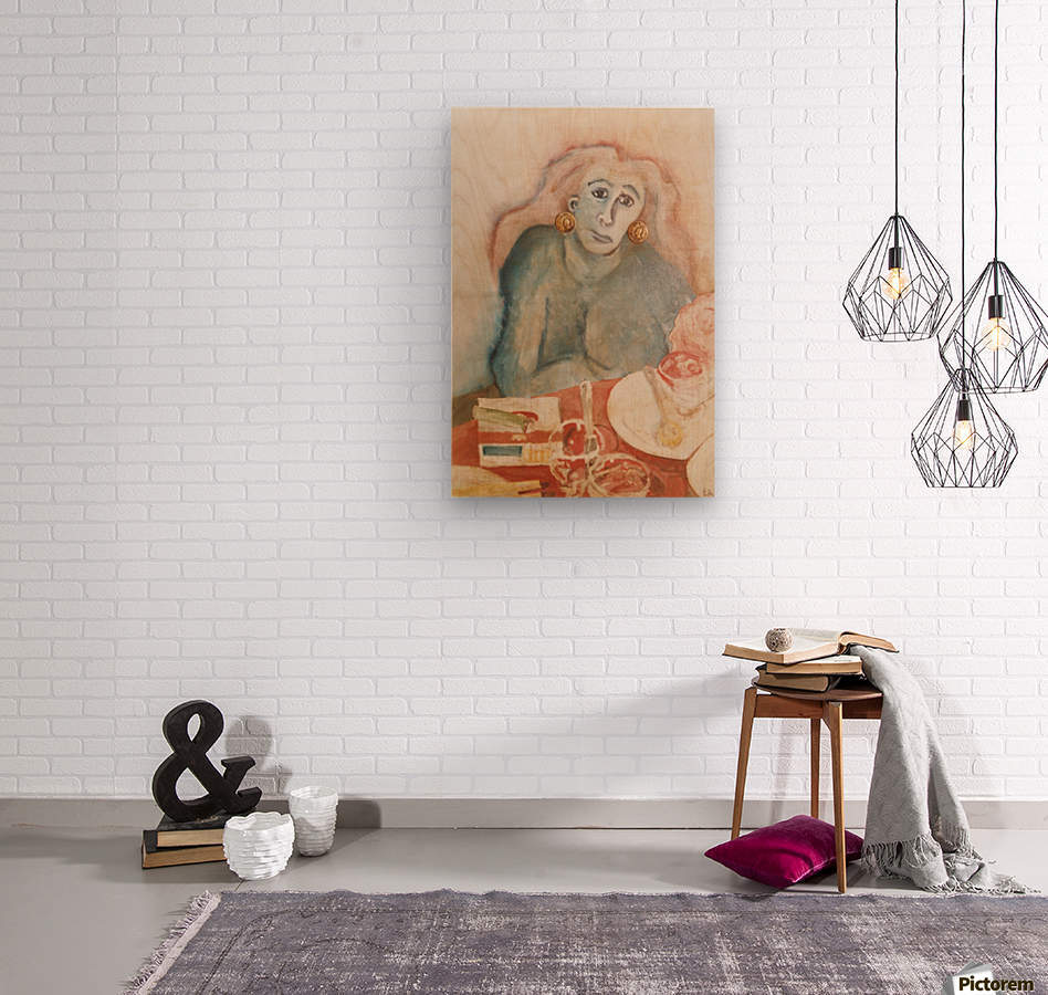 The woman with carnations  Wood print