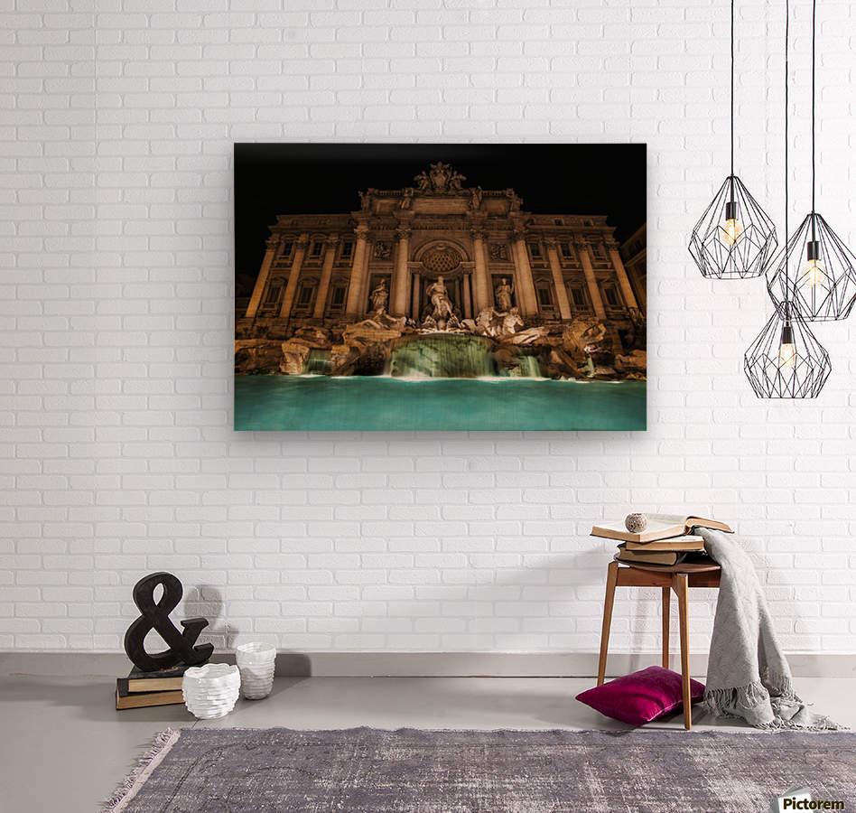 Trevi fountain illuminated at nighttime; Rome, Italy  Wood print