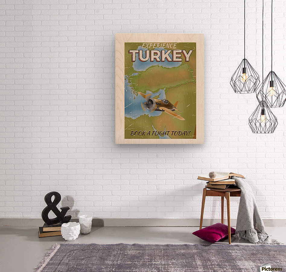 Turkey vintage travel poster  Wood print