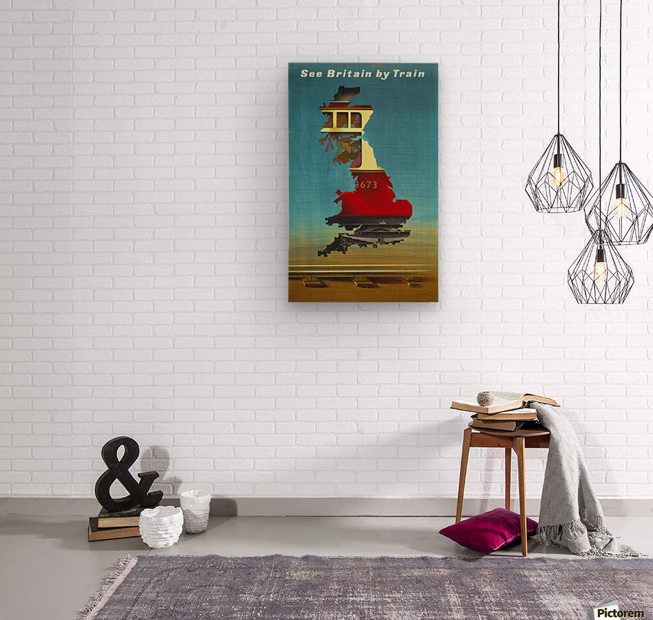 See Britain by Train, 1951 vintage poster  Wood print