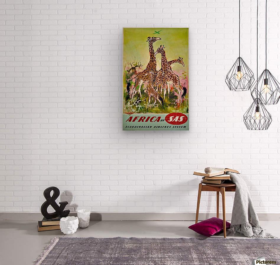 Scandinavian Airlines Africa by SAS original advertising poster  Wood print