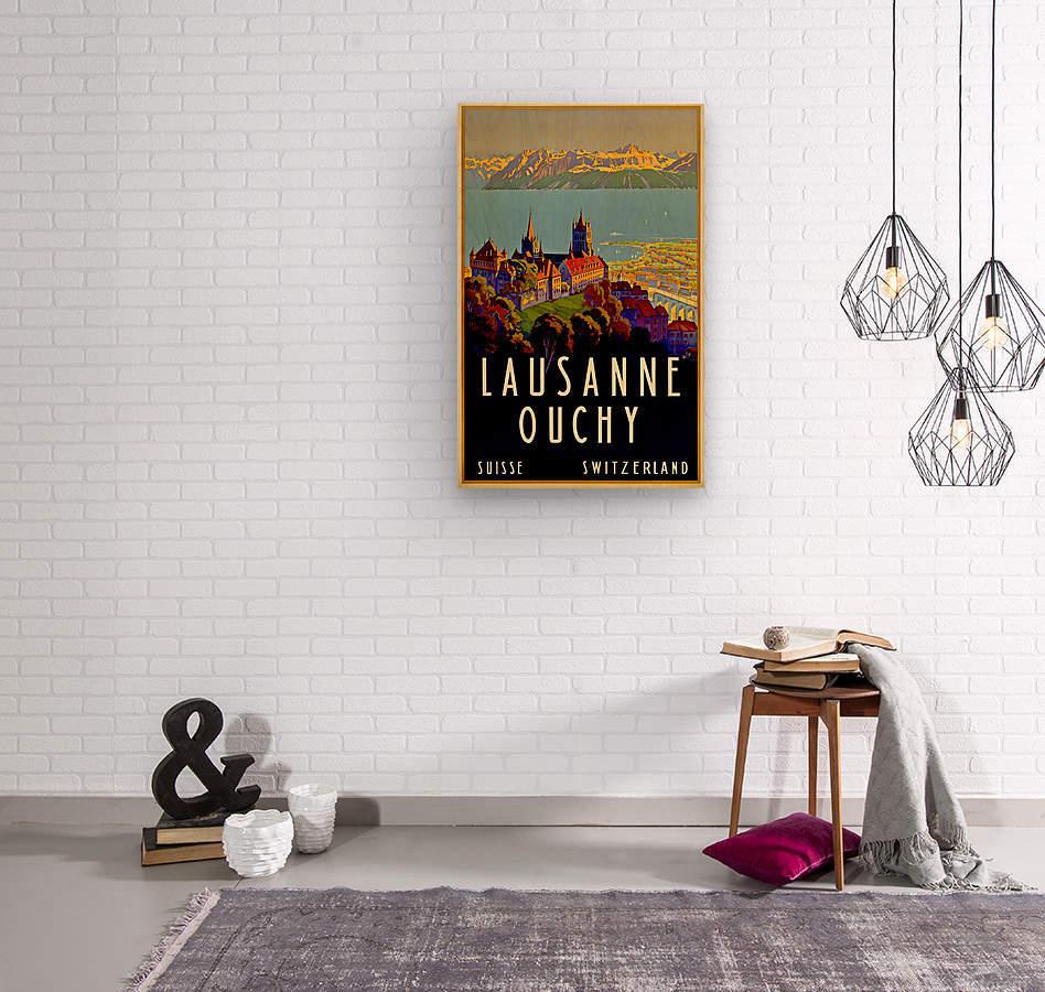 Lausanne Switzerland Travel Poster  Wood print