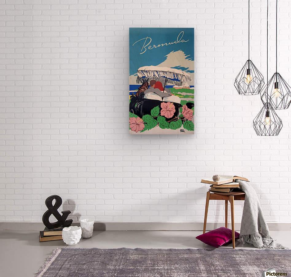 Bermuda Beach vintage travel poster  Wood print