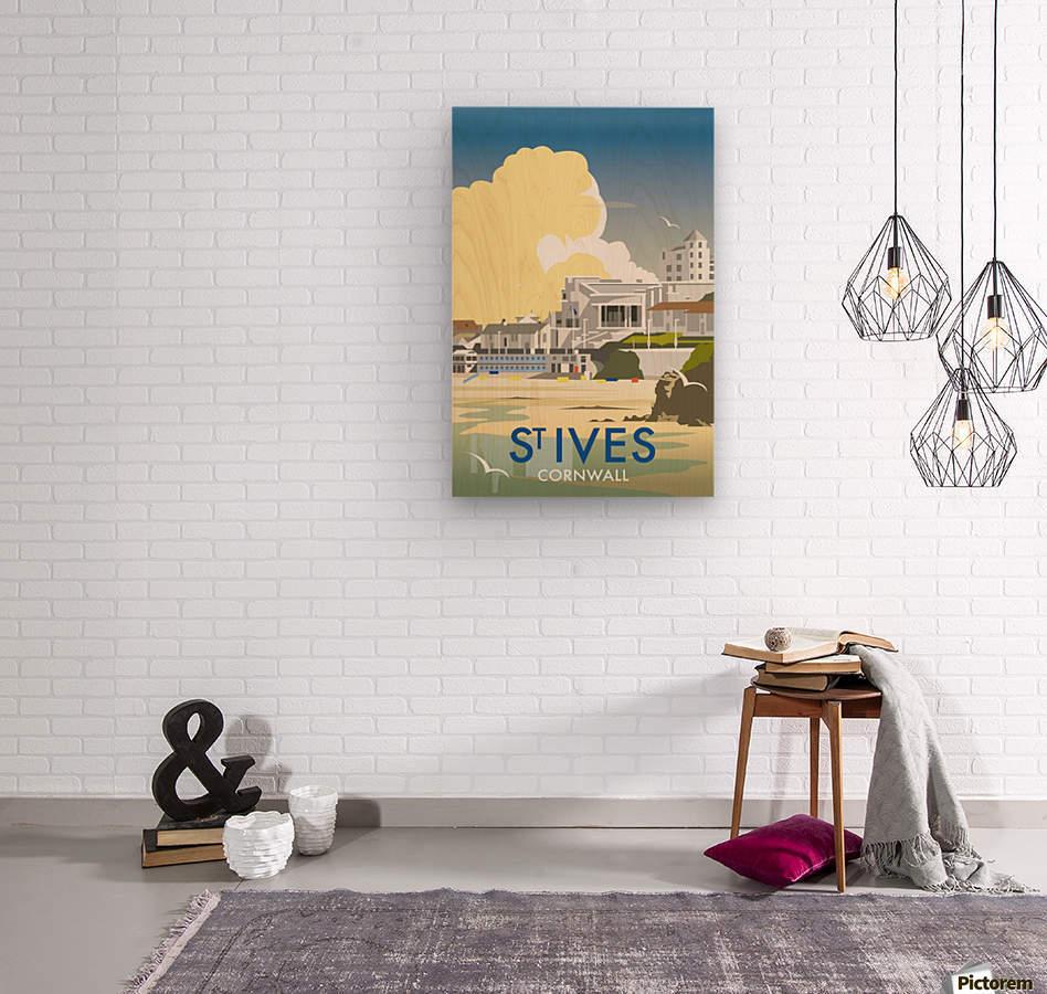 Saint Ives Cornwall vintage travel poster  Wood print