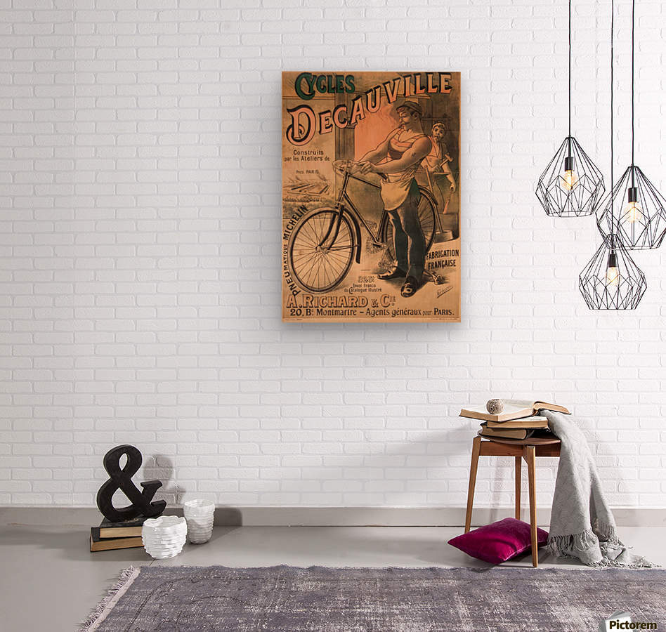 Cycles DeCauville vintage poster  Wood print