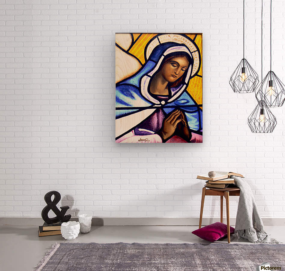 Mary in Glass  Wood print