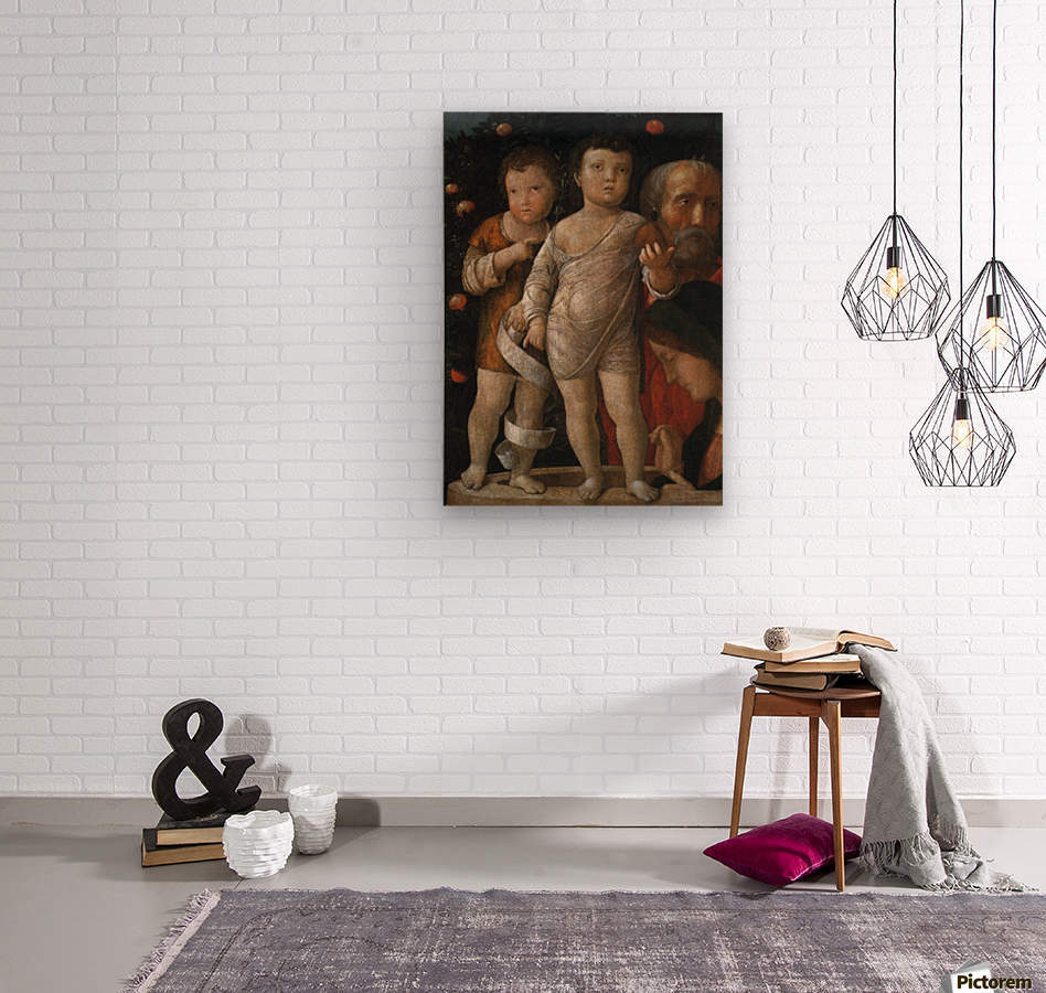 The Holy Family with St John  Wood print