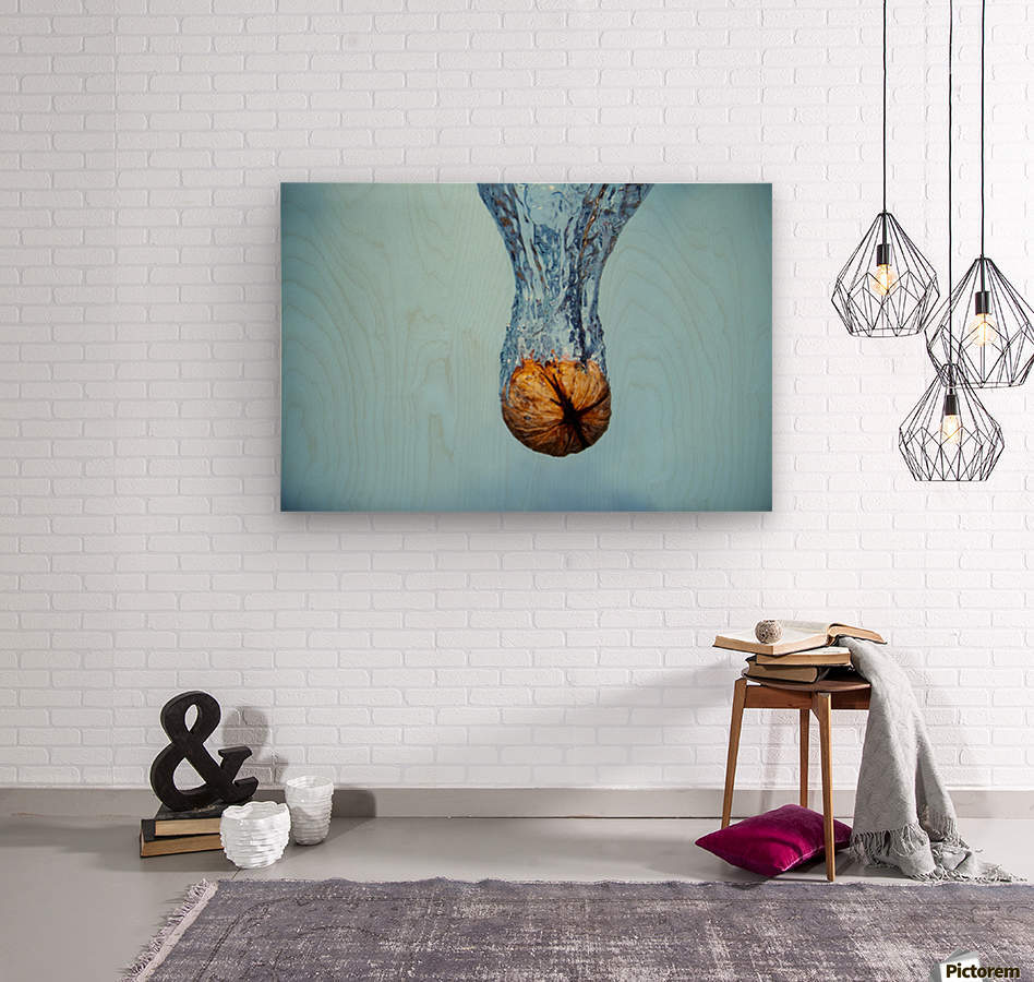Amazing Walnut water splash  Wood print