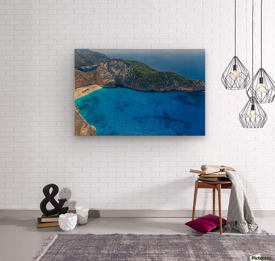 Navagio beach with shipwreck on Zakynthos island in Greece  Wood print
