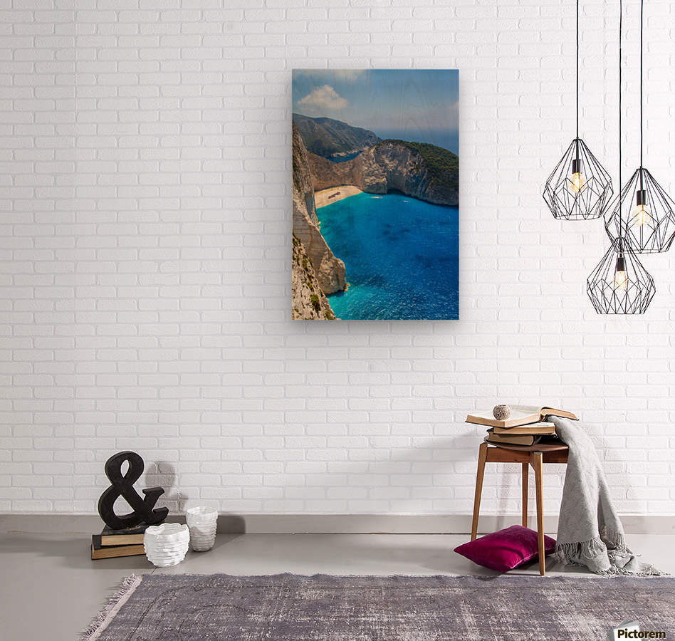 Navagio beach with shipwreck and flowers on Zakynthos island in Greece  Wood print