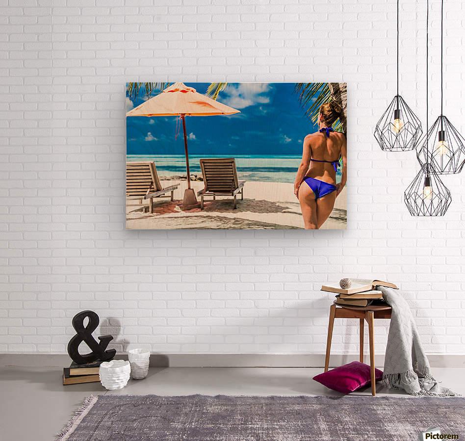 woman in bikini under palm on sea background  Wood print