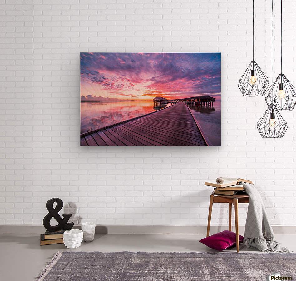 Amazing tropical sunset beach, luxury overwater bungalow  Wood print