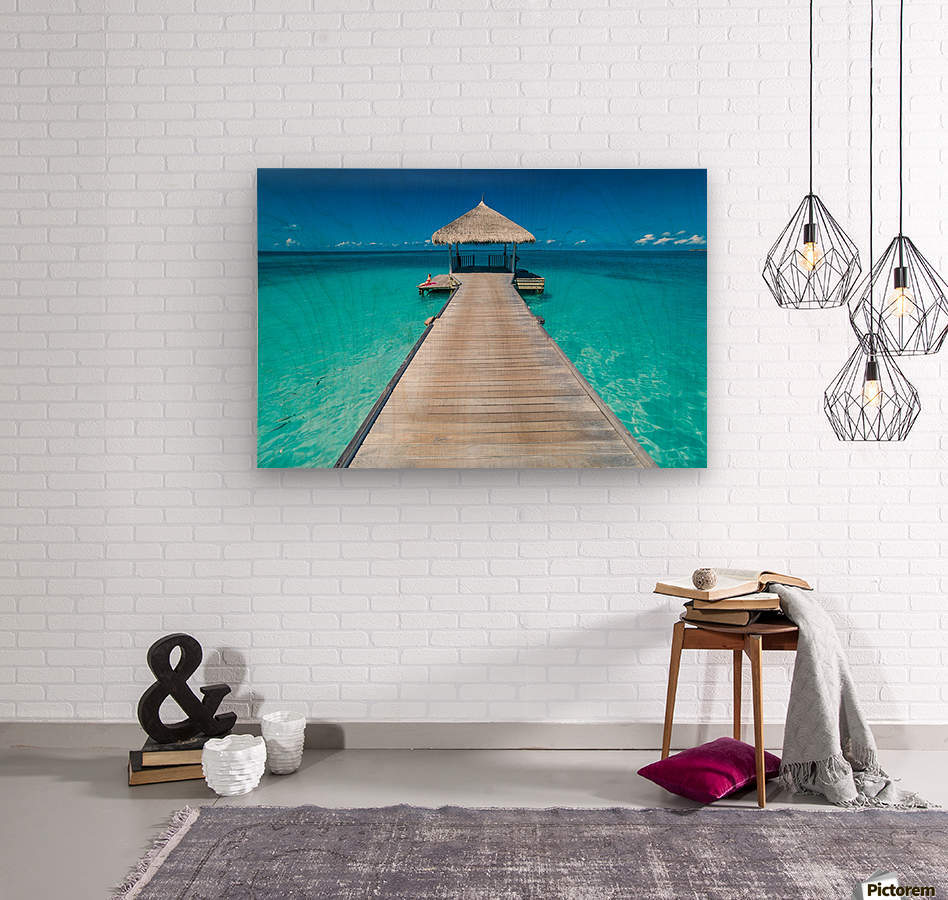 View of water bungalow in tropical island, Maldives, Indian ocean  Wood print