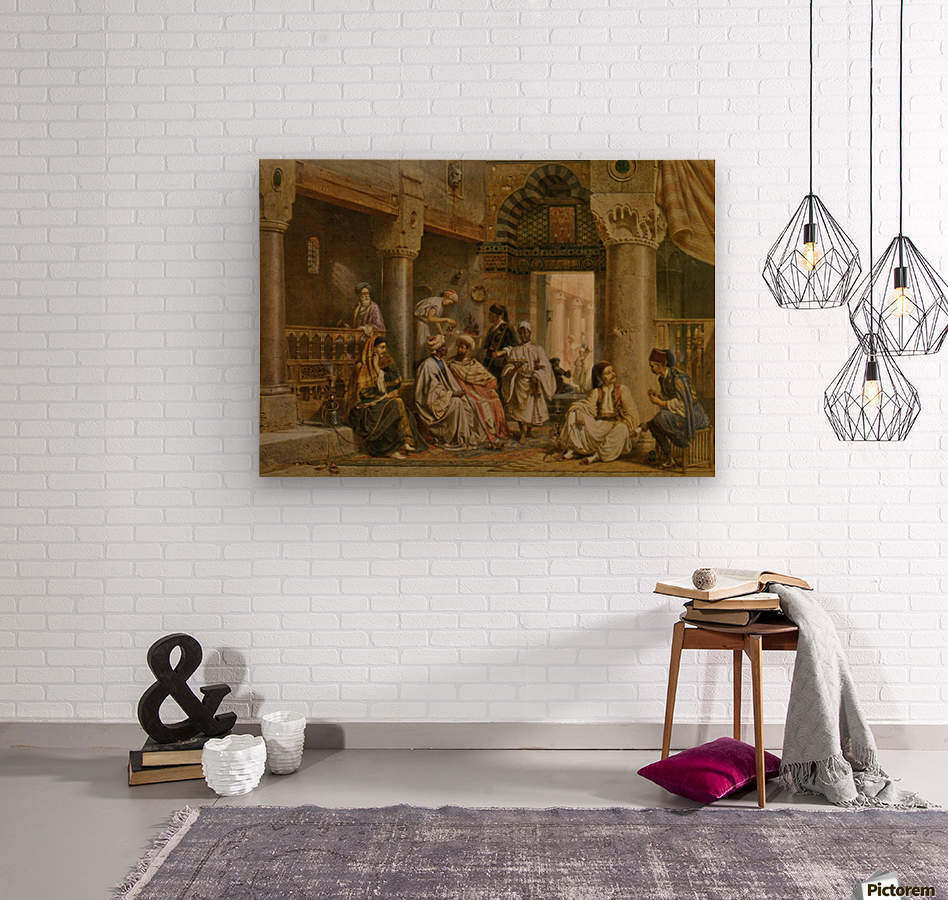The coffee house  Wood print