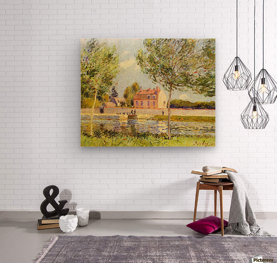 Houses on the banks of the Loing by Sisley  Wood print