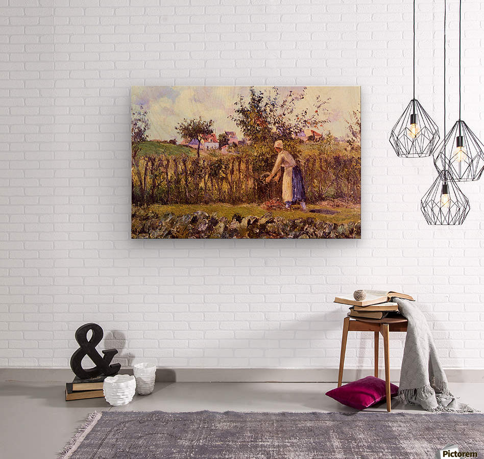 In the Orchard by Pissarro  Wood print