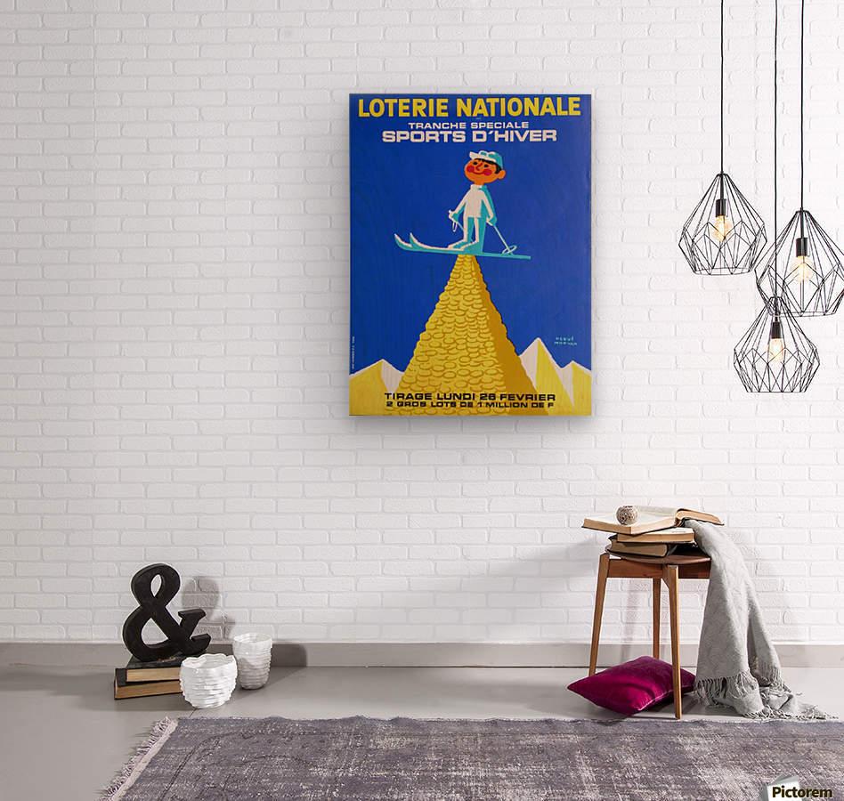 Loterie Nationale original vintage poster ski winter sport  Impression sur bois