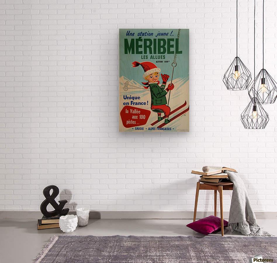 Original vintage poster ski winter sport Meribel  Wood print