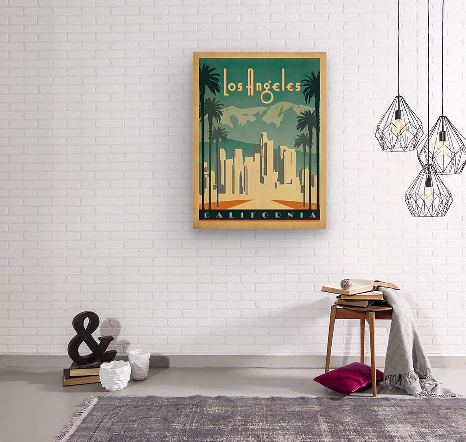 Los Angeles California travel poster  Wood print