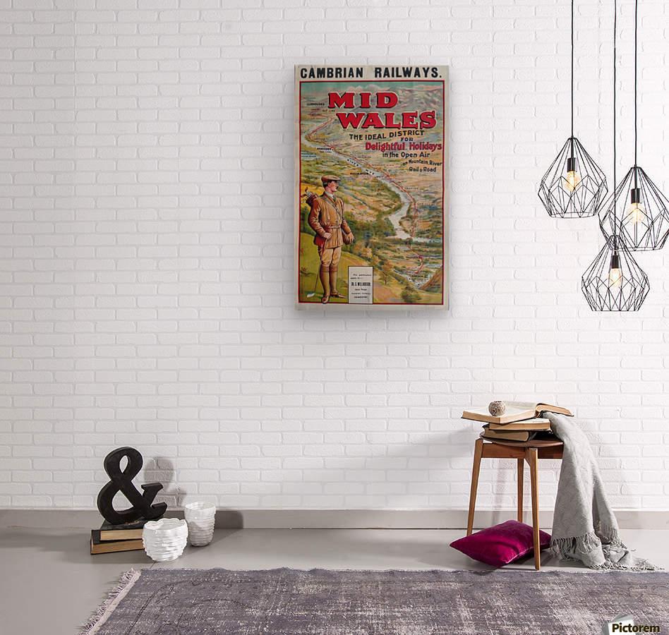 Original vintage poster golf Cambrian railways Mid Wales river  Wood print