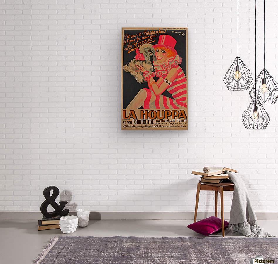La Houppa Original Vintage advertisement lithograph poster  Wood print