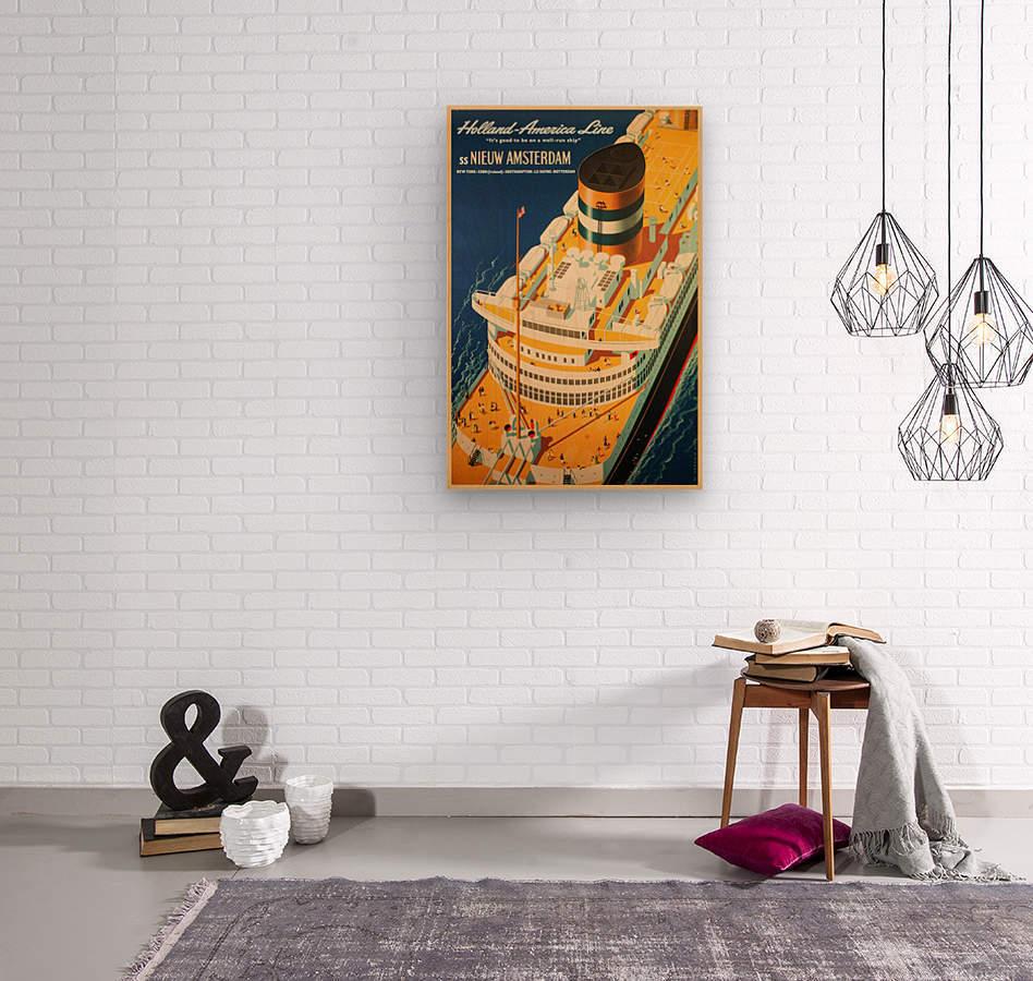 Holland - America Line vintage travel poster  Wood print