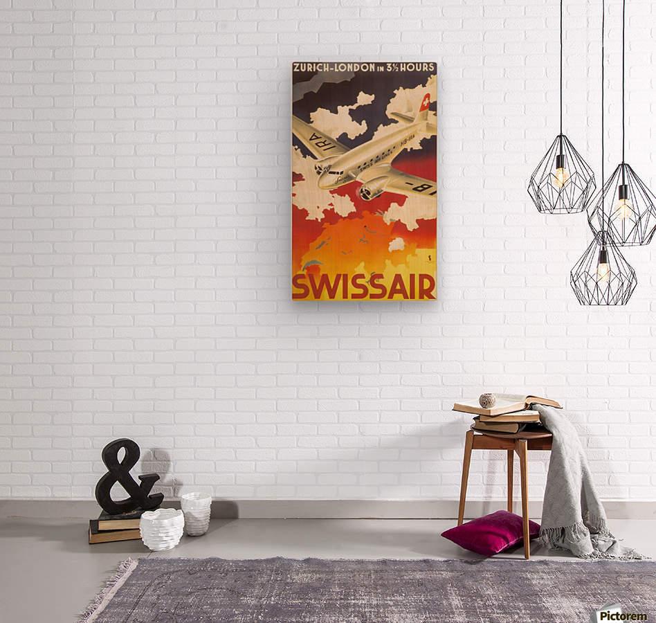 Zurich - London travel poster for Swissair  Wood print