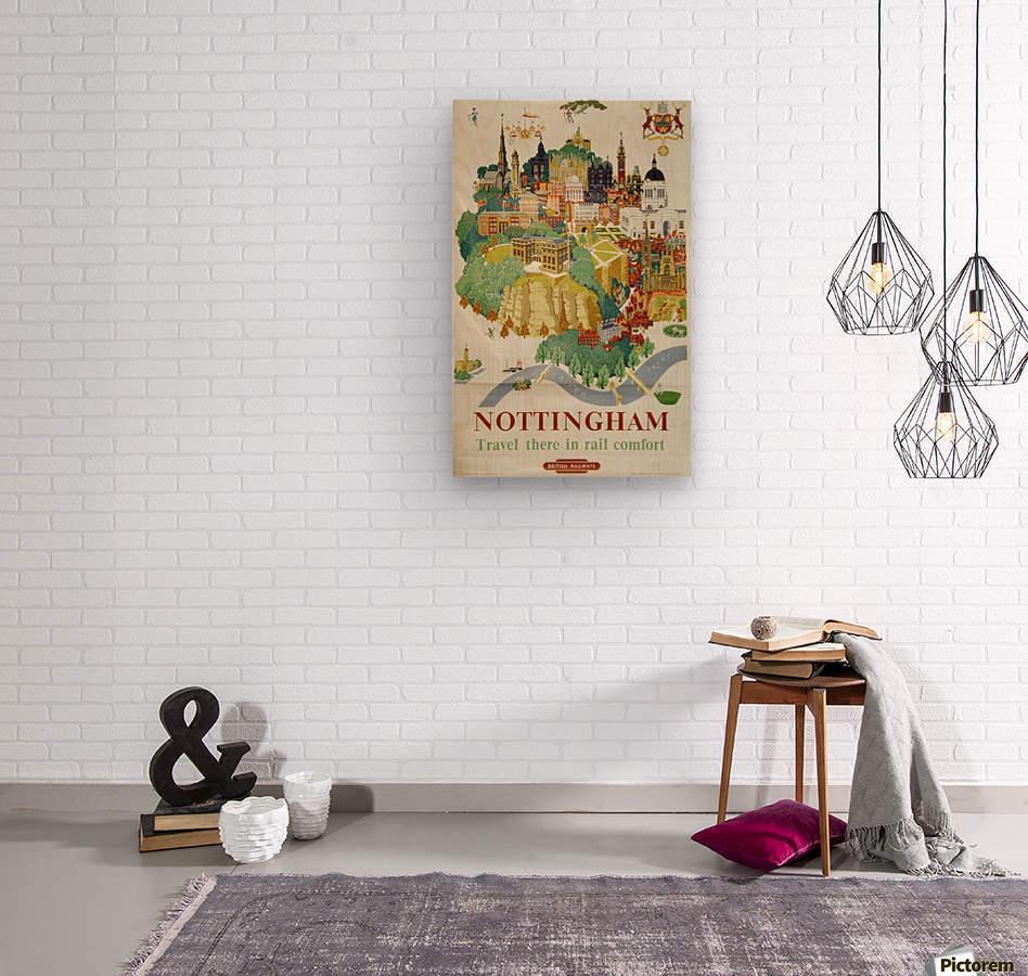 Nottingham vintage travel poster for British Railways  Wood print