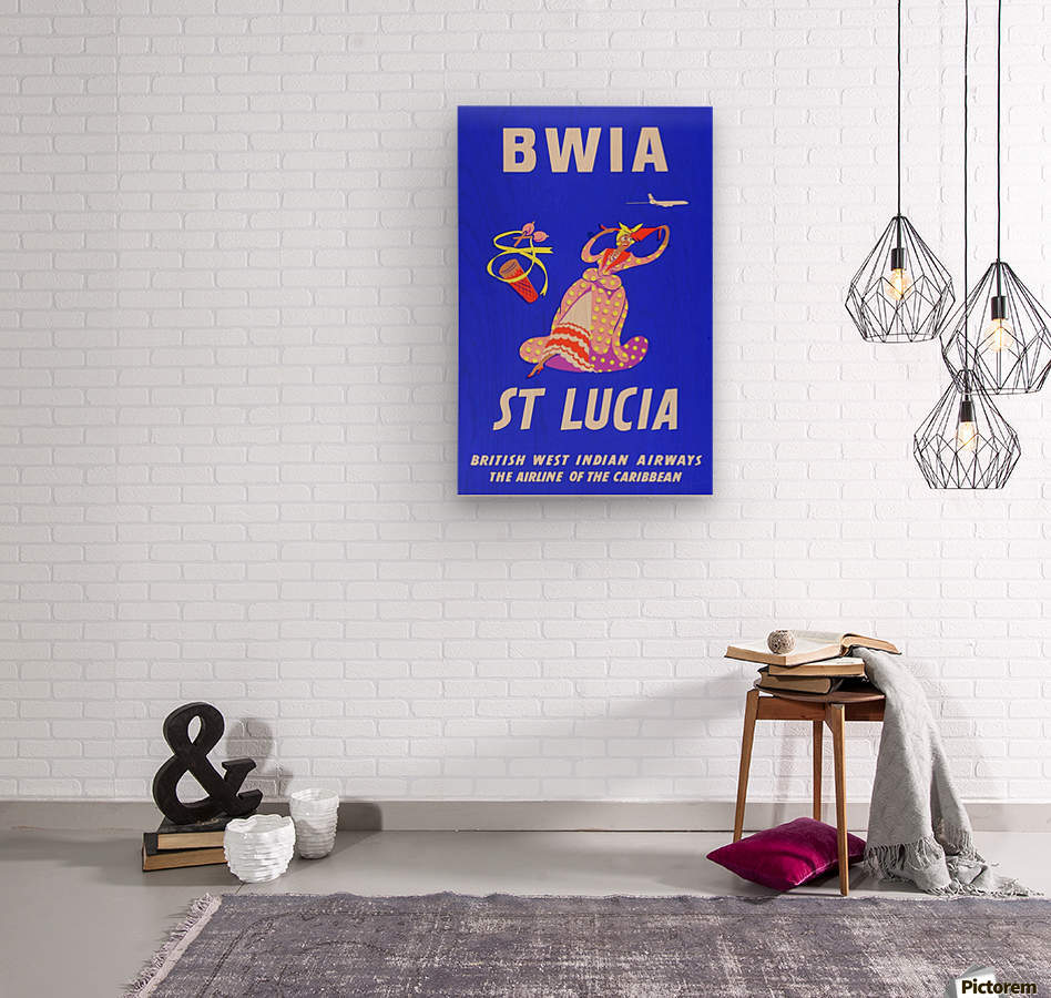 BWIA St Lucia original travel poster  Wood print