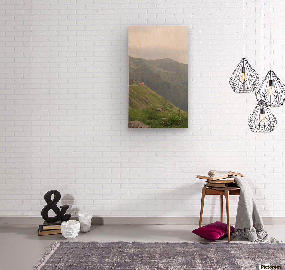 Landscape with mountain view at 2000 m altitude  Wood print