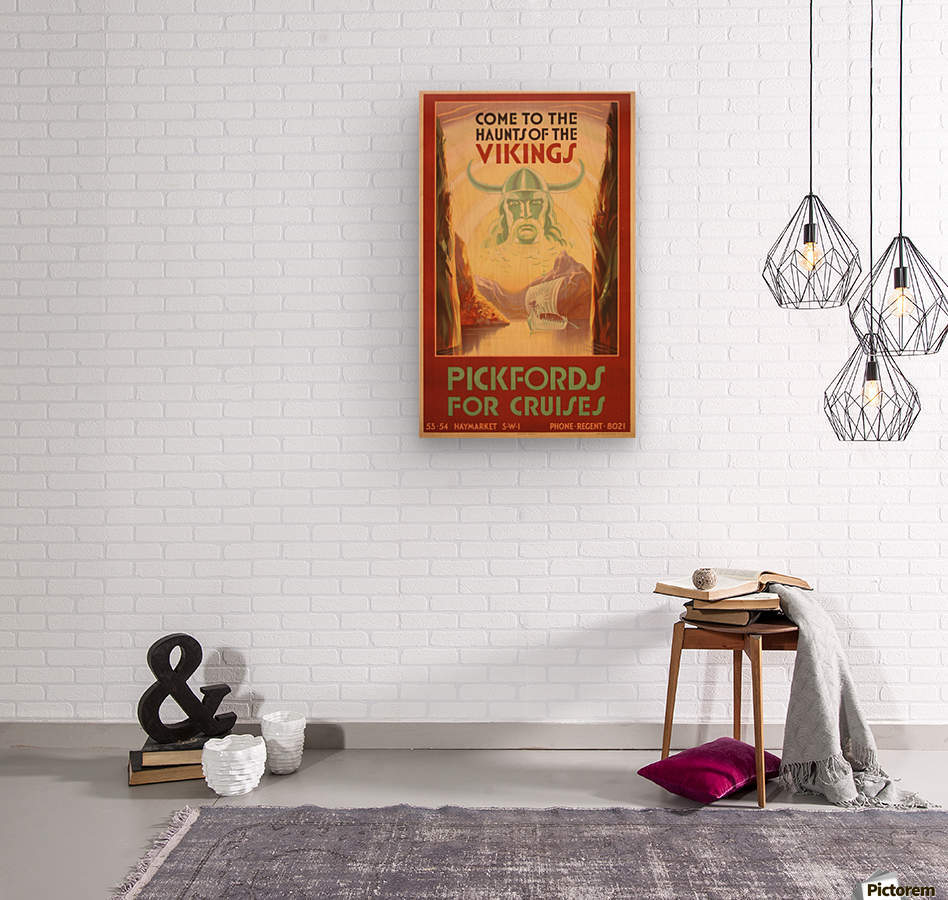 Cruise Ship Art Deco travel poster  Wood print